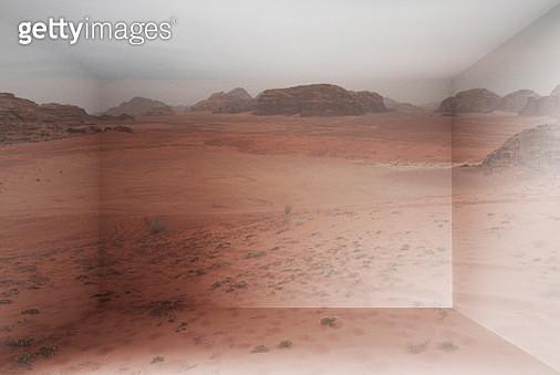 Wadi Rum desert landscape inside home using virtual reality simulator. - gettyimageskorea