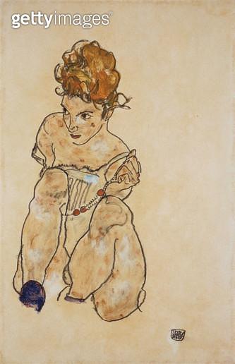 Sitting Girl in Underwear (Sitzendes M?chen in Unterkleid). 1917 - gettyimageskorea