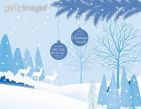 Cute Cartoon Winter Landscape In The Snow - gettyimageskorea