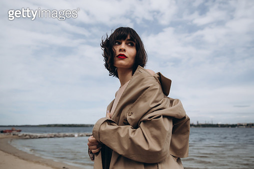 Outdoor portrait of stylish young woman in the coat - gettyimageskorea