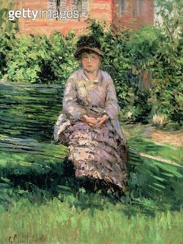 <b>Title</b> : Madame Renoir (1860-1915) in the Garden at Petit-Gennevilliers, c.1891 (oil on canvas)<br><b>Medium</b> : oil on canvas<br><b>Location</b> : Private Collection<br> - gettyimageskorea