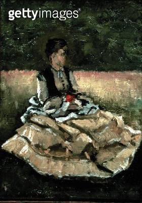 <b>Title</b> : Woman Seated on the Lawn (oil on canvas)<br><b>Medium</b> : oil on canvas<br><b>Location</b> : Private Collection<br> - gettyimageskorea