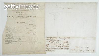 <b>Title</b> : Sketch of two ships on a catalogue page, c.1823 (pencil on paper)<br><b>Medium</b> : pencil on paper<br><b>Location</b> : Yale Center for British Art, Paul Mellon Collection, USA<br> - gettyimageskorea