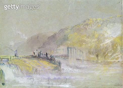 <b>Title</b> : Foul by God: River Landscape with Anglers Fishing from a Weir, c.1830 (w/c & bodycolour with pencil & chalk on paper)<br><b>Medium</b> : watercolour and bodycolour with pencil and chalk on paper<br><b>Location</b> : Yale Center for British  - gettyimageskorea