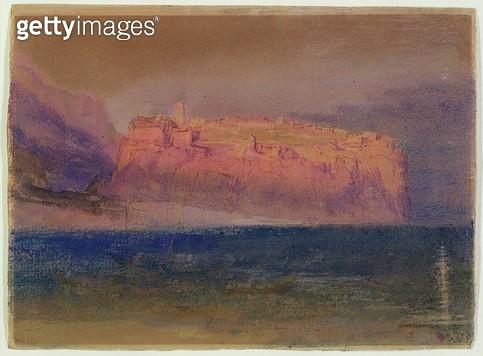 <b>Title</b> : Corsica, (Monaco?) c.1830-35 (w/c on brown paper)<br><b>Medium</b> : watercolour on brown paper<br><b>Location</b> : Yale Center for British Art, Paul Mellon Collection, USA<br> - gettyimageskorea