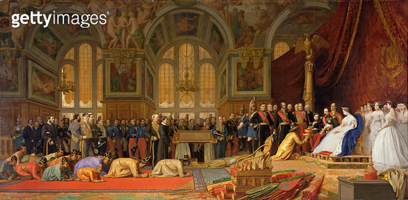<b>Title</b> : The Reception of Siamese Ambassadors by Emperor Napoleon III (1808-73) at the Palace of Fontainebleau, 27 June 1861 (oil on canvas)<br><b>Medium</b> : oil on canvas<br><b>Location</b> : Chateau de Versailles, France<br> - gettyimageskorea