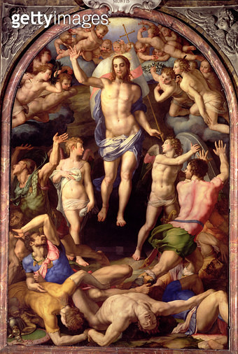 <b>Title</b> : The Resurrection, 1550 (oil on panel)<br><b>Medium</b> : <br><b>Location</b> : S.S.Annunziata, Florence, Italy<br> - gettyimageskorea