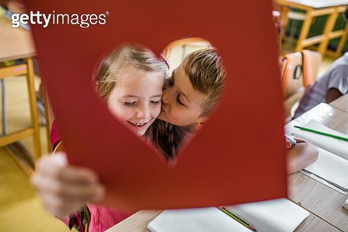 Love at elementary school! - gettyimageskorea