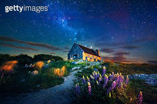 Starry Night at Lake take - gettyimageskorea