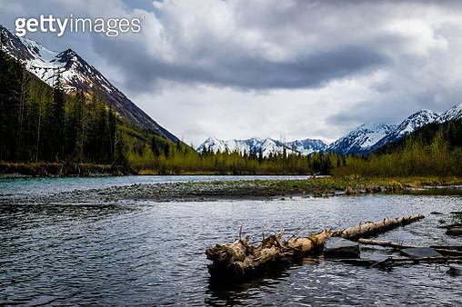 Small lake and mountain range - gettyimageskorea