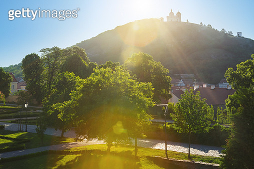 The Holy Hill in Mikulov, Moravia, Czech Republic at sunrise - gettyimageskorea