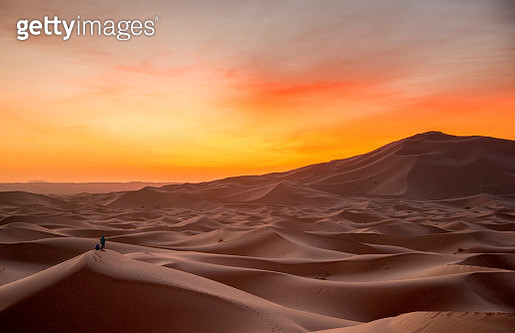 Erg Chebbi is one of Morocco's two Saharan ergs  large seas of dunes formed by wind-blown sand. - gettyimageskorea