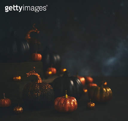 Halloween still life background with orange and black glittery pumpkins - gettyimageskorea