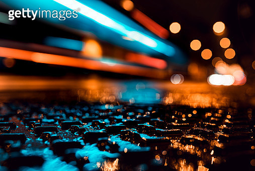 Light Trails In The City At Night - Asphalt, Rain, Night, Speed - gettyimageskorea