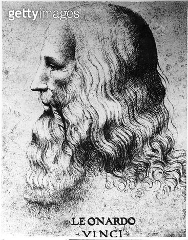 <b>Title</b> : Portrait of Leonardo da Vinci (1452-1519), engraved by Francesco Bartolozzi (c.1727-1815) (engraving) (b/w photo)<br><b>Medium</b> : engraving<br><b>Location</b> : Private Collection<br> - gettyimageskorea