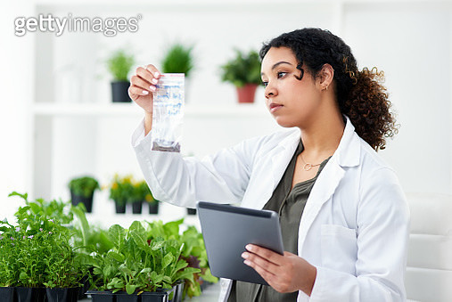 Shot of a scientist using a digital tablet while working in a lab - gettyimageskorea