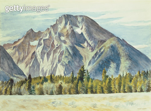 <b>Title</b> : Mount Moran, 1946 (w/c on paper)<br><b>Medium</b> : watercolour on paper<br><b>Location</b> : Private Collection<br> - gettyimageskorea
