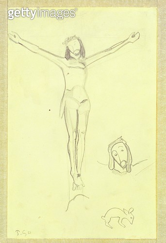 <b>Title</b> : Study for The Yellow Christ, 1889 (pencil on paper) (see also 456)<br><b>Medium</b> : pencil on yellow paper mounted on board<br><b>Location</b> : Private Collection<br> - gettyimageskorea