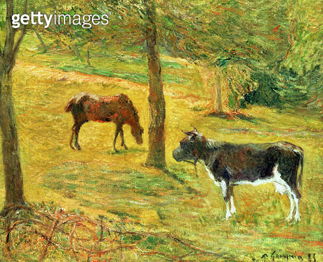 <b>Title</b> : Horse and Cow in a Meadow, 1885 (oil on canvas)<br><b>Medium</b> : oil on canvas<br><b>Location</b> : Private Collection<br> - gettyimageskorea