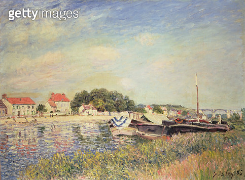 <b>Title</b> : The Banks of the Loing at Saint-Mammes, 1885 (oil on canvas)<br><b>Medium</b> : oil on canvas<br><b>Location</b> : Private Collection<br> - gettyimageskorea