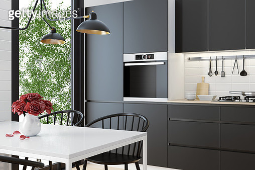 Modern Scandinavian black kitchen and dining room - gettyimageskorea