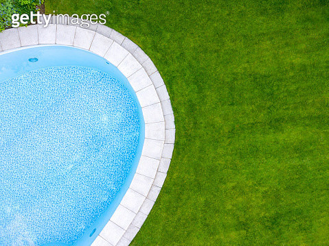 Swimming pool. Directly above aerial view, drone perspective. - gettyimageskorea