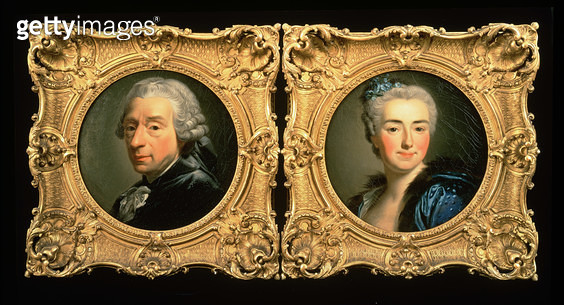 <b>Title</b> : Portraits of Francois Boucher (1703-70) and his Wife Marie-Jeanne Buseau (oil on canvas)<br><b>Medium</b> : oil on canvas<br><b>Location</b> : Private Collection<br> - gettyimageskorea