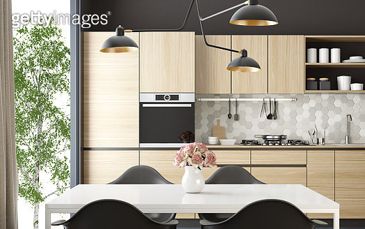 Modern Scandinavian kitchen and dining room - gettyimageskorea