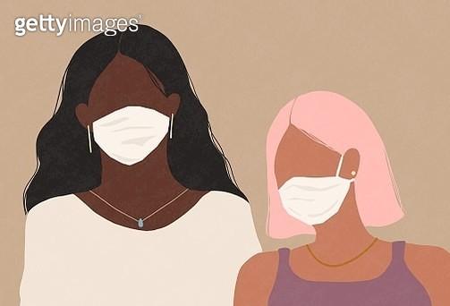 self-control, covid-19, corona virus, stay home, feeling sick, flu virus, women, medical face mask, face mask, confidence, friends, stress, serious - gettyimageskorea