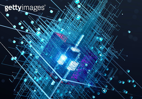 Glowing cube connection - gettyimageskorea