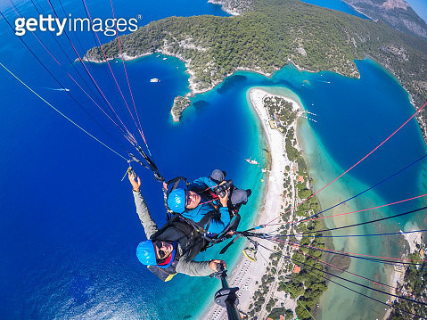 Paragliding Over Mediterranean Coast, Oludeniz, Fethiye, Mugla, Turkey - gettyimageskorea