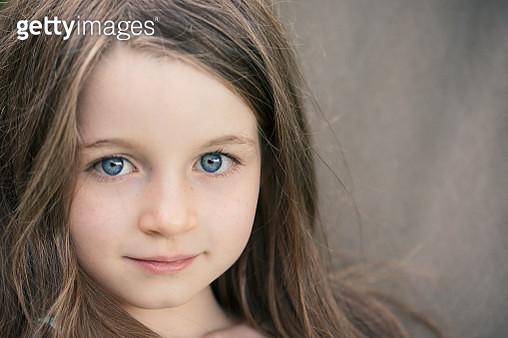 Headshot of girl with blue eyes - gettyimageskorea
