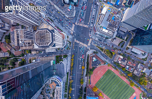 Aerial view of road intersection - gettyimageskorea