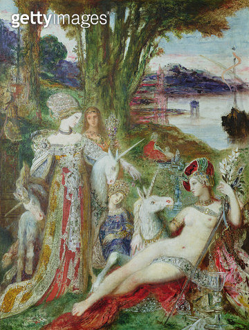 <b>Title</b> : The Unicorns (oil on canvas)<br><b>Medium</b> : oil on canvas<br><b>Location</b> : Musee Gustave Moreau, Paris, France<br> - gettyimageskorea