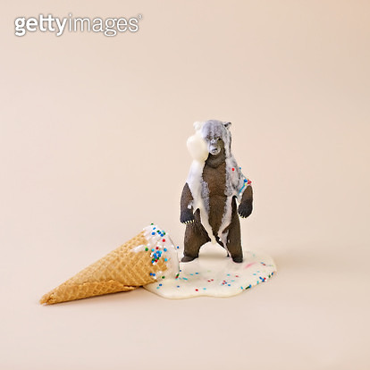 Toy Bear with Melted Ice Cream Cone - gettyimageskorea