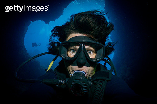 Underwater extreme sports cave diving Woman Scuba Diver selfie - gettyimageskorea