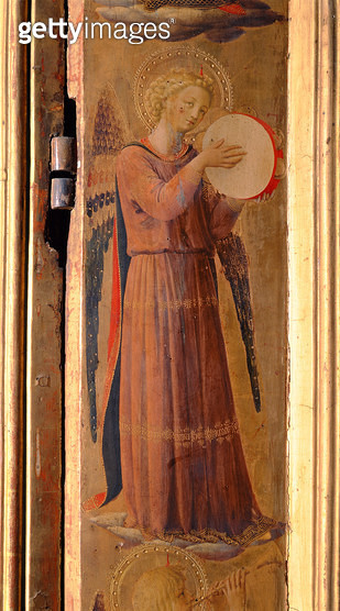 <b>Title</b> : Angel Playing a Tambourine, detail from the Linaiuoli Triptych, 1433 (tempera on panel)<br><b>Medium</b> : tempera on panel<br><b>Location</b> : Church of San Marco, Florence, Italy<br> - gettyimageskorea