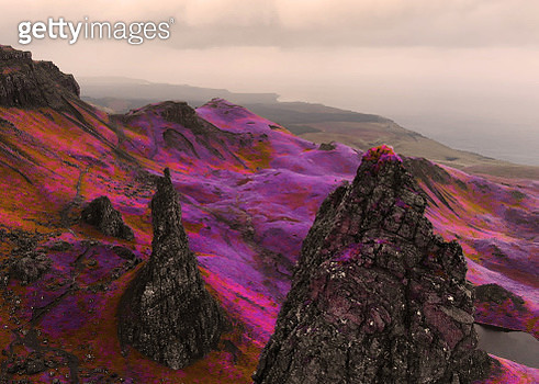 Fantasy aerial picture above the dramatic landscape with infrared colors in Scotland. - gettyimageskorea
