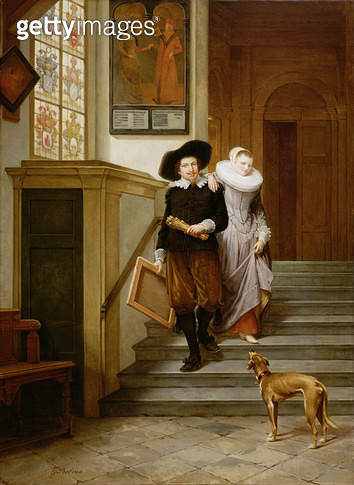 <b>Title</b> : Frans Hals (1580-1666) and His Wife Lysbeth Reyniersdr (oil on canvas)Additional Infoinspired by Hals' painting 'Married Couple<br><b>Medium</b> : oil on canvas<br><b>Location</b> : Private Collection<br> - gettyimageskorea