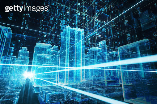 Abstract hologram futuristic building data - gettyimageskorea