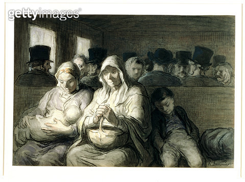 <b>Title</b> : The Third Class Carriage, 1864 (w/c ink wash & charcoal on paper)<br><b>Medium</b> : watercolour, ink wash and charcoal on paper<br><b>Location</b> : Walters Art Museum, Baltimore, USA<br> - gettyimageskorea