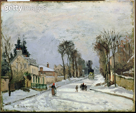 <b>Title</b> : The Versailles Road at Louveciennes, 1869 (oil on canvas)<br><b>Medium</b> : oil on canvas<br><b>Location</b> : Walters Art Museum, Baltimore, USA<br> - gettyimageskorea