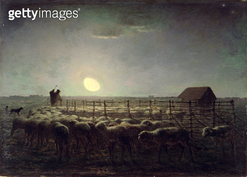 <b>Title</b> : The Sheepfold, Moonlight, 1856-60 (oil on panel)<br><b>Medium</b> : oil on panel<br><b>Location</b> : Walters Art Museum, Baltimore, USA<br> - gettyimageskorea