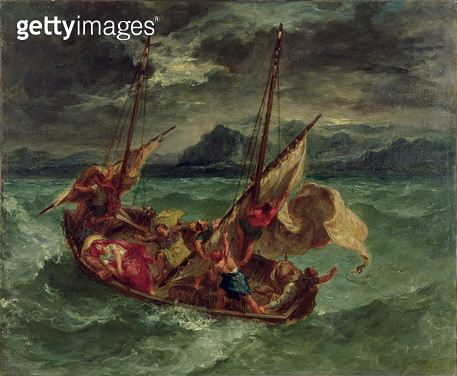 <b>Title</b> : Christ on the Sea of Galilee, 1854 (oil on canvas)<br><b>Medium</b> : oil on canvas<br><b>Location</b> : Walters Art Museum, Baltimore, USA<br> - gettyimageskorea