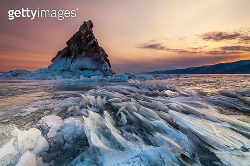 Elenka Island at sunset, Lake Baikal - gettyimageskorea