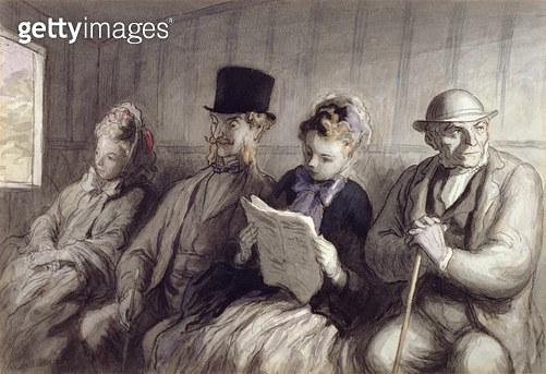 <b>Title</b> : The First Class Carriage, 1864 (w/c ink wash & charcoal on paper)<br><b>Medium</b> : watercolour, ink wash and charcoal on paper<br><b>Location</b> : Walters Art Museum, Baltimore, USA<br> - gettyimageskorea