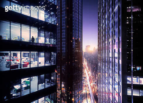 Beautiful sunrise at modern business district. - gettyimageskorea