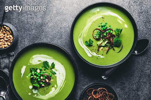 Green peas cream soup - gettyimageskorea