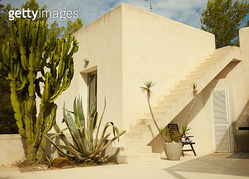 Stairs leading up to the rooftop terrace of a luxury Spanish villa. Sunny. - gettyimageskorea