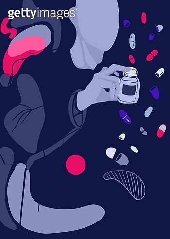 A person with pills all around. Antidepressants. - gettyimageskorea